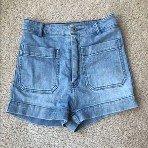 H&M Lightwash High-Waisted Denim Shorts